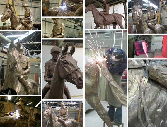 The Arkle statue in the making at the foundry.