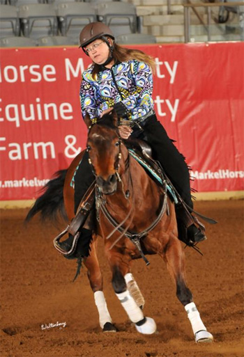 Lise Yervasi  and Dolano Glory Rey CT won the para-reining competition at the Kentucky Reining Cup.
