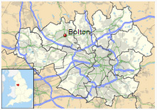 Location of Bolton in Manchester.