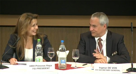 FEI President Princess Haya and Secretary-General Ingmar de Vos after the statue changes.