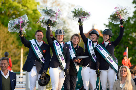 The winning British team, from left, Tim Page, Holly Gillott, Chef d'Equipe Di Lampard, Harriet Nuttall and Jessie Drea.