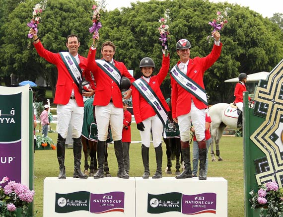 Team Canada recorded their second successive victory in the Furusiyya FEI Nations Cup  Jumping 2014 North America, Central America and Caribbean League when winning the qualifier at Coapexpan, Mexico, on Saturday. From left,  Jonathon Millar, Chris Sorensen, Kara Chad and Ian Millar.  © FEI/Anwar Esquivel