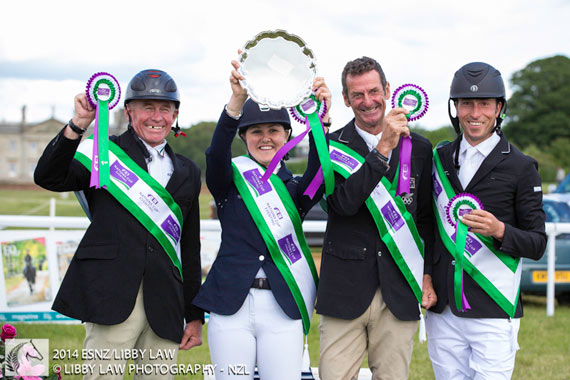 The winning Kiwi team, of, from left, Craig Nicolai, Lizzie Brown, Mark Todd, and Tim Price.