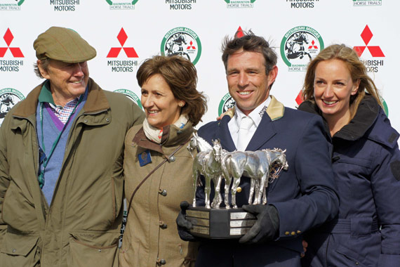 Paulank Brockagh's owners Dinah and Steve Posford and Juliet Carter with Sam Griffiths after their mare won the Badminton Horse Trials on Sunday.