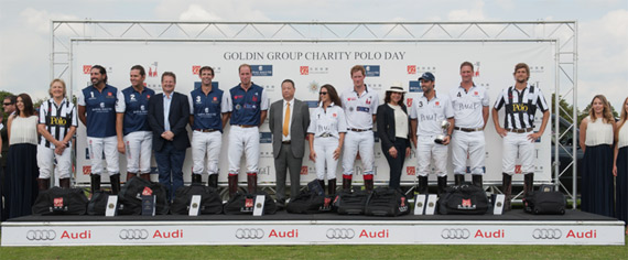 Prize Presentation at The Goldin Group Charity Polo Cup, L-R: Referee, Royal Salute team - Tommy Kato, Luis Escobar, Neil MacDonald, Global Brand Director, Royal Salute, Malcolm Borwick, HRH The Duke of Cambridge, Mr. Pan Sutong, Chairman and CEO, The Goldin Group, Piaget team - Corinne Ricard, HRH Prince Henry of Wales, Lorenza Cavalli, UK Brand Director, Piaget, Facundo Pieres, John Fisher, and referee.