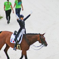 French rider Jessica Michel reacts to the crowd's applause after her test on Rivera de Hus.