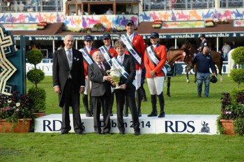 Team USA won the Aga Khan Cup. The Team USA riders are: Charlie Jayne, Jessica Springsteen, Katherine Dinan and Beezie Madden. Irish President Michael D Higgins and RDS President Matthew Dempsey presented the cup.