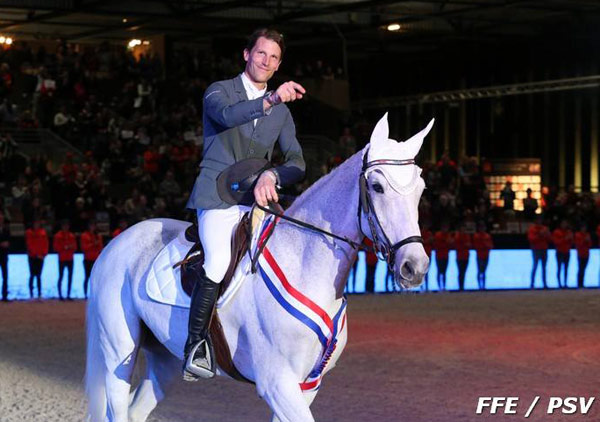 Kevin Staut and Silvana de Hus in the mare's retirement ceremony at the World Cup show in Bordeaux.