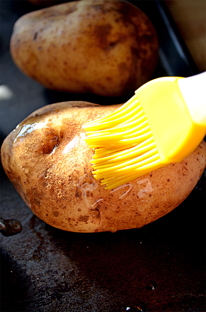 Brushing the Oil on the Potatoes