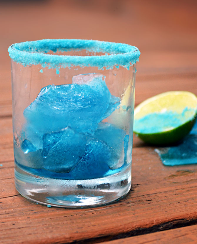 Easy to Make Blue Ice Chips and Blue Salt  for Breaking Bad Blue Margaritas!