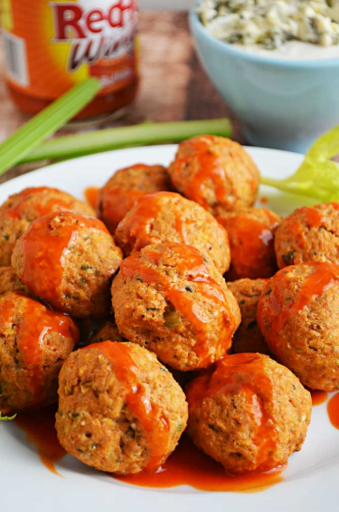 Buffalo Chicken Meatballs for the Super Bowl (or a delicious and guilt-free party snack!)