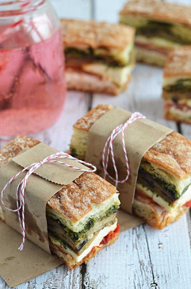 Eggplant, Prosciutto, and Pesto Pressed Picnic Sandwiches- perfect for ...