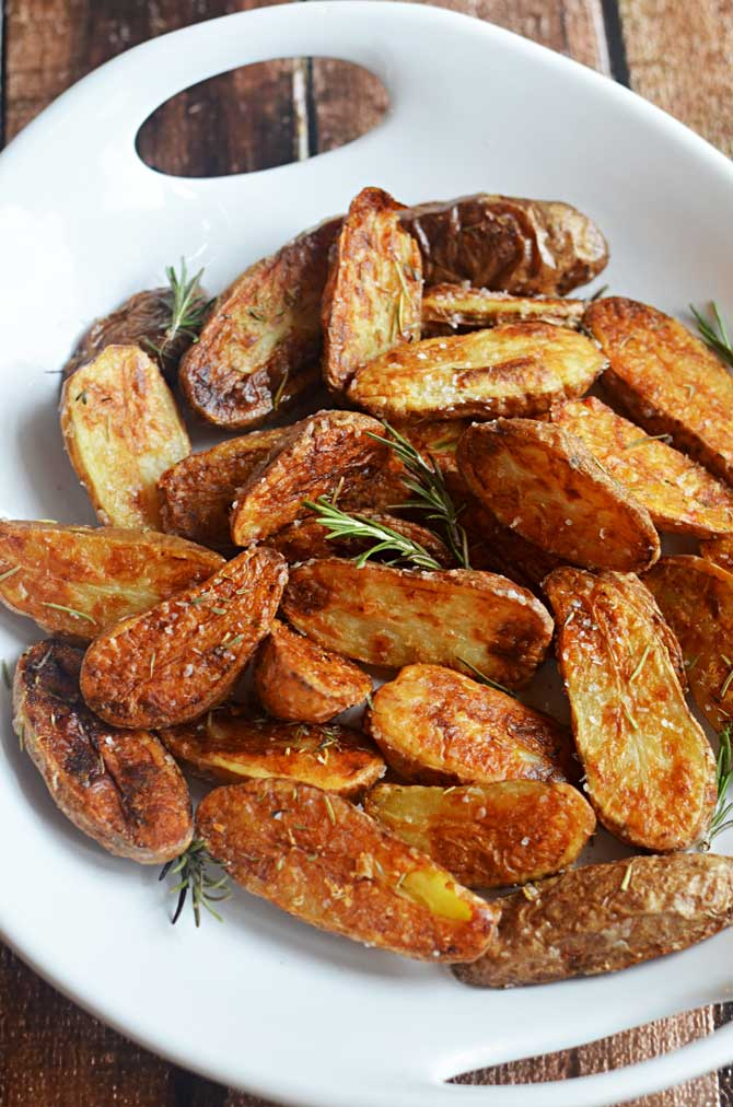 Crispy Sea Salt and Vinegar Roasted Potatoes.  These are so crisp and flavorful, you'll want to eat them as a side dish fo