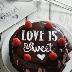Sugar Stenciled Raspberry Dark Chocolate Cake