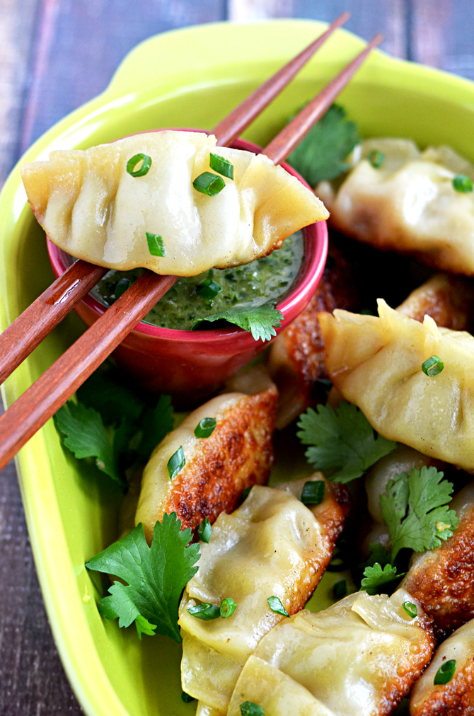 Chipotle Ranch Chicken and Avocado Potstickers with Cilantro Lime Dip