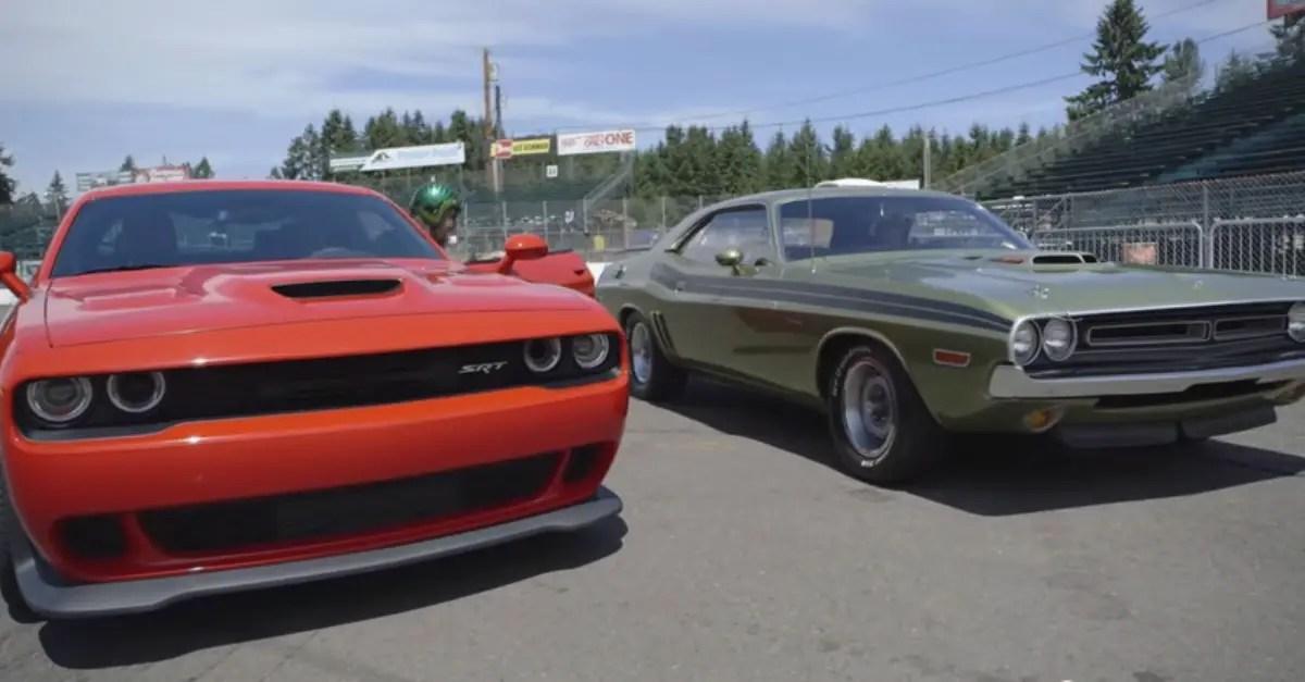 2015 srt hellcat dodge challenger vs 1970 dodge challenger rt hemi mopar muscle cars hot cars. Black Bedroom Furniture Sets. Home Design Ideas