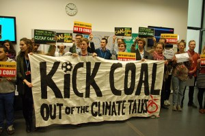 Kicking coal out of the COP.  Photo: 350.org