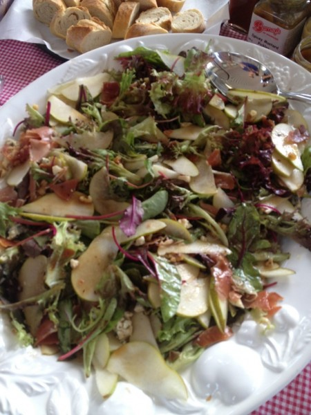 My cousin's salad of pear, blue cheese and caramelised walnuts
