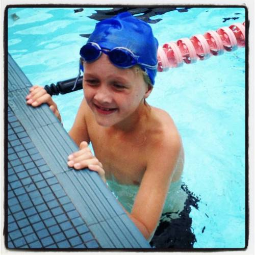 He's finished his first ever 50m Breast Stroke race