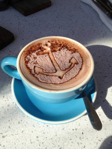 An anchor on my hot chocolate!