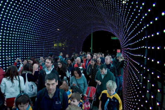 Walking through the tunnel of lights - beware the prams, strollers and scooters