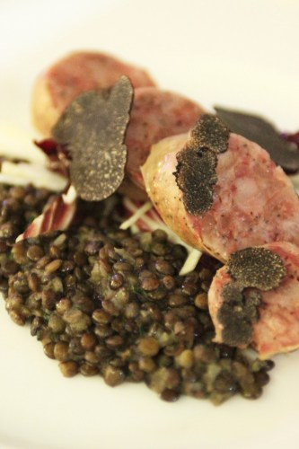 Secondo:  Traditional poached pork sausage with lentils
