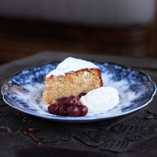 Plated with clotted cream and some extra sour cherries