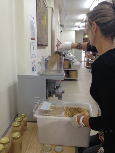 Peanuts going into the machine