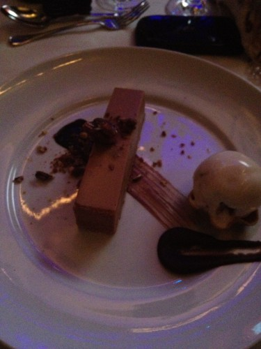 Milk chocolate and salted caramel slice, praline and maple pecan ice cream - a spectacular dessert