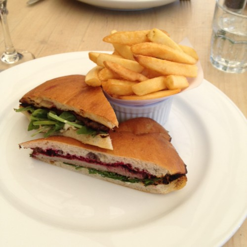 Sirloin steak sandwich with beetroot relish, rocket, horseradish and chips $25.00