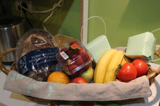 Complimentary fruit basket with ANZAC biscuits