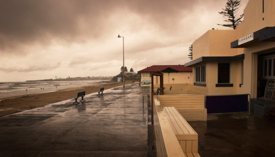 Thirroul Beach - unfortunately we were there on a very stormy day