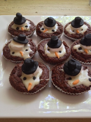 Tania's gorgeous chocolate brownies with melted snowmen