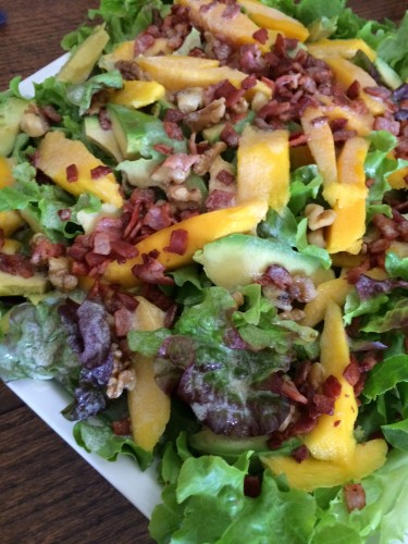 Mango, avocado and bacon salad