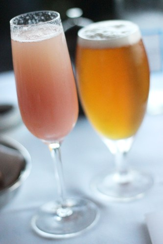 A Bellini and an ale