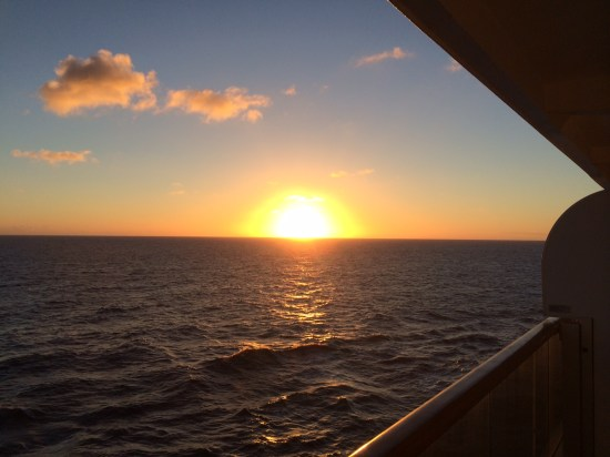 And as the ship cruised away, there was a stunning sunset.