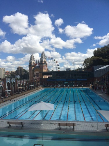 The Olympic pool, the baby pool and Luna Park in the distance