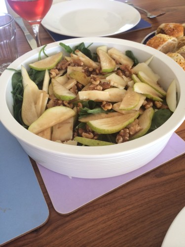Rocket, pear and walnut salad