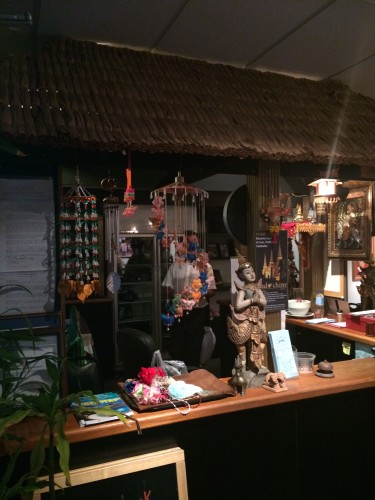 The thatched-hut bar inside the commercial premises