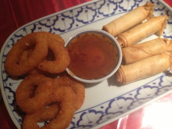 Deep fried calamari and spring rolls