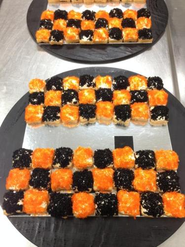 Egg caviar toasts