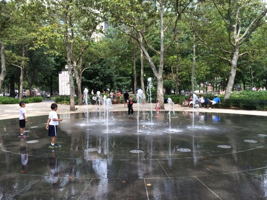Battery Park in the summer