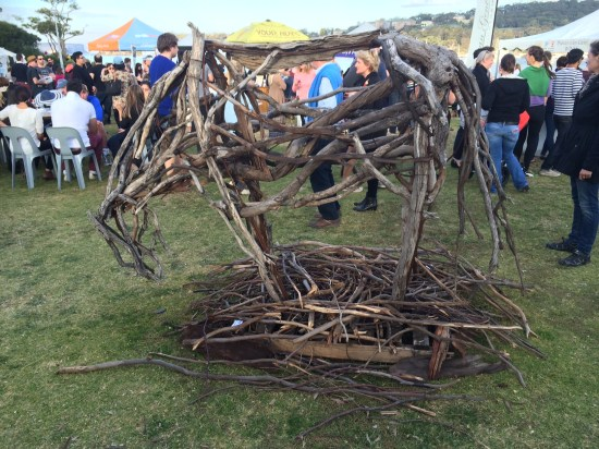 Not a good photo but this is a horse sculpture made from sticks