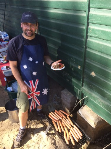 To BBQ sausages you must have a patriotic apron