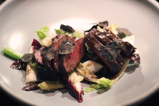 Teppanyaki Beef on witlof salad with a champagne vineagrette