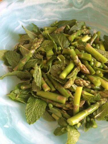 Asparagus, peas and mint
