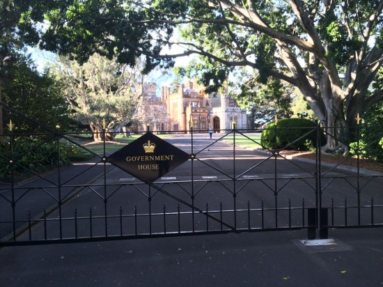 Closed gates to Government House
