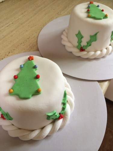 Decorated with a Christmas Tree and holly.