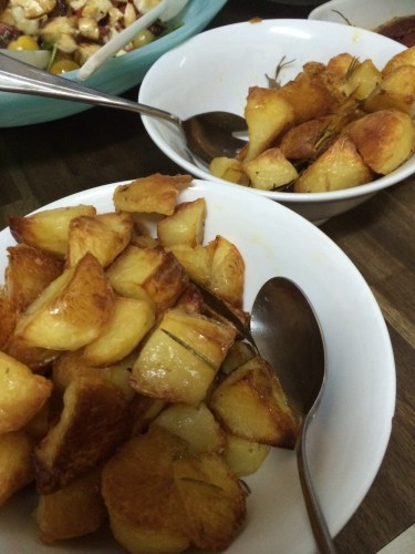 Duck fat potatoes cooked with rosemary and bay leaves