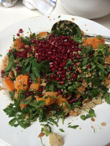 Sweet potato, crispy kale and pomegranate salad